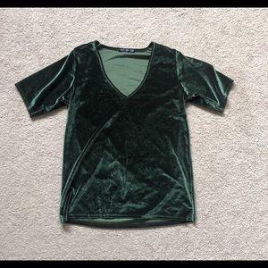 Nasty Gal Green Velvet Blouse